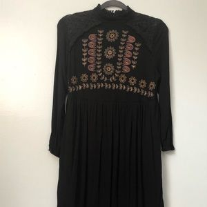 Funky Embroidered Black Knit Dress